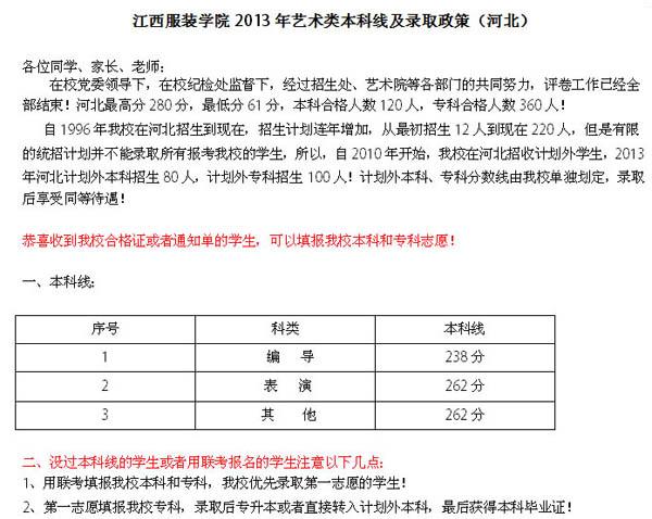 江西服装学院2013年艺术类本科线及录取政策(河北).jpg