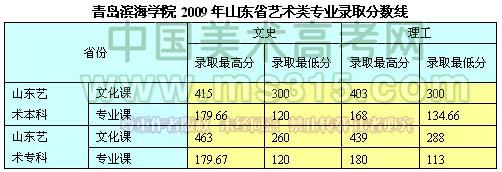 青岛滨海学院2009年山东省艺术类专业录取分数线