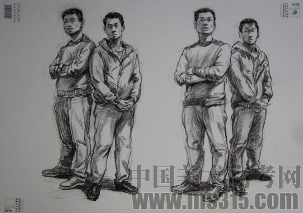 人物群像场景     中国美术学院 2015年速写考试以人物写生和室外场景